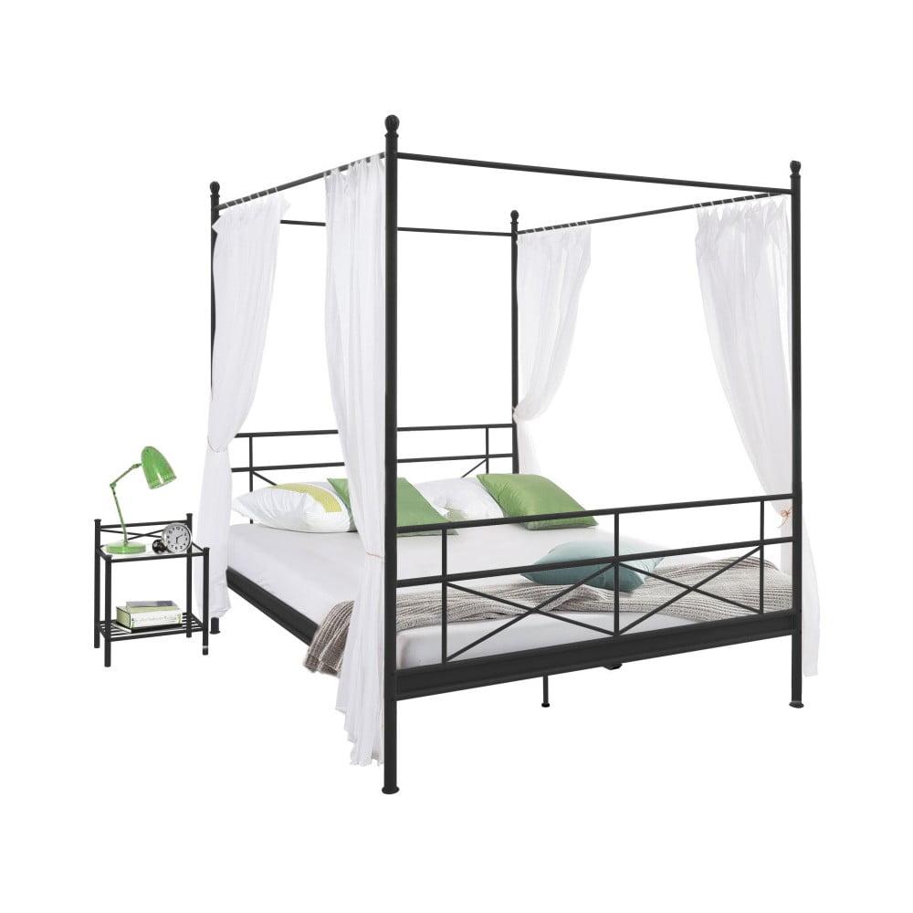 Černá kovová postel Støraa Tanja Canopy, 140 x 200 cm