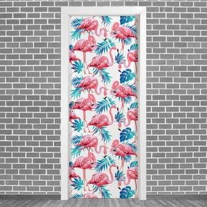 Samolepka na dveře LineArtistica Fenicotteri Uno, 80 x 215 cm
