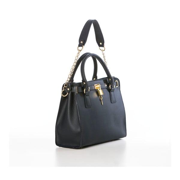 Tmavě modrá kožená kabelka Federica Bassi Dollaro