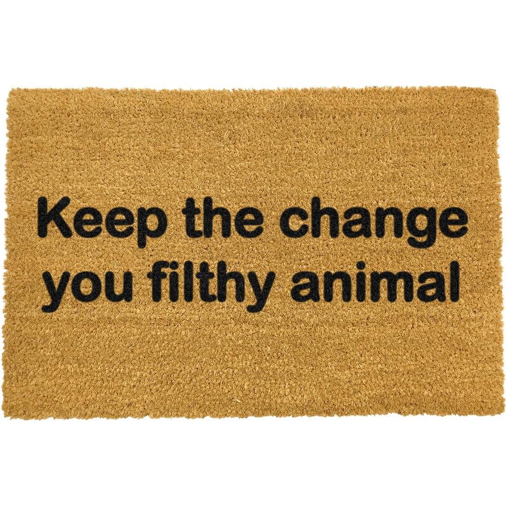 Rohožka z přírodního kokosového vlákna Artsy Doormats Keep The Change,40x60cm