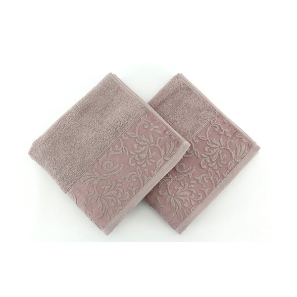Sada 2 bavlnených hnedých uterákov Burumcuk, 50×90 cm