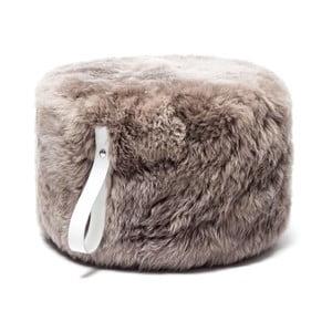 Světle hnědý puf z ovčí kožešiny s bílým detailem Royal Dream,Ø60cm