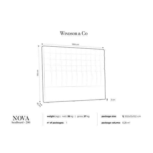 Černé čelo postele Windsor & Co Sofas Nova, 200 x 120 cm