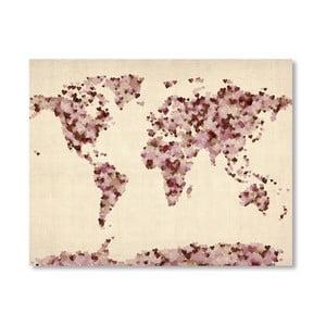 Poster cu harta lumii Americanflat Heart, 60x42cm, roz