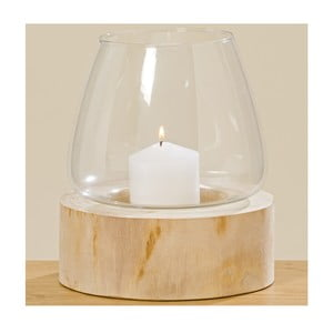 Skleněný svícen s dřevěným podstavcem Boltze Pawlonie