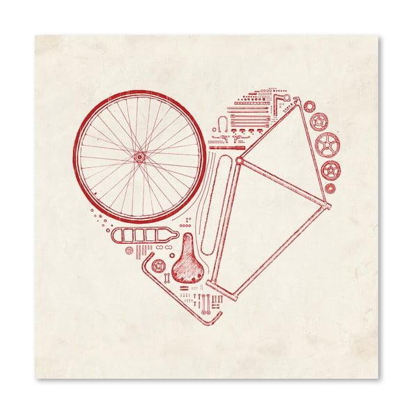 Plakát Love Bike Red od Florenta Bodart, 30x30 cm