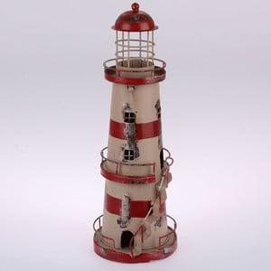 Kovový závěsný svícen Red Stripes Lighthouse, 32 cm