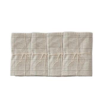 Set 4 șervețele textile din amestec de in Linen Couture Green Lines, 43 x 43 cm imagine