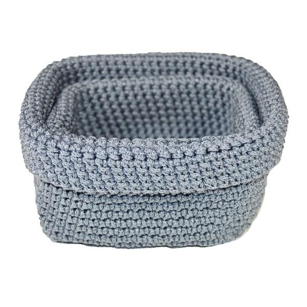 Set 2 modrosivých háčkovaných košíkov JOCCA Crochet