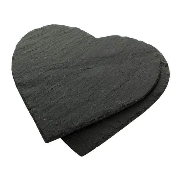 Sada 2 břidlicových podložek Heart, 25x25 cm