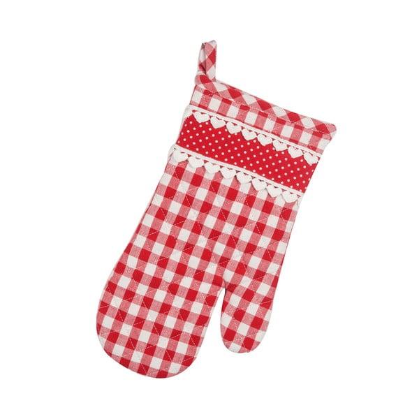 Kuchyňská rukavice Basic Hearts, červená