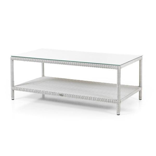 Bílý zahradní stolek se skleněnou deskou Brafab Loria, 120x63cm