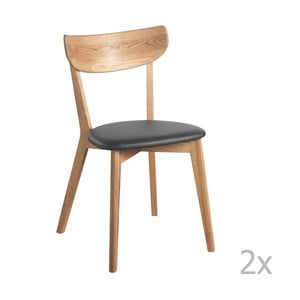 Set 2 scaune cu aspect de stejar cu șezut negru Folke Ami