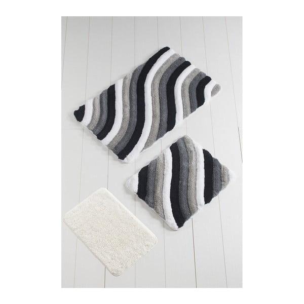 Komplet 3 szarych dywaników łazienkowych Colorful
