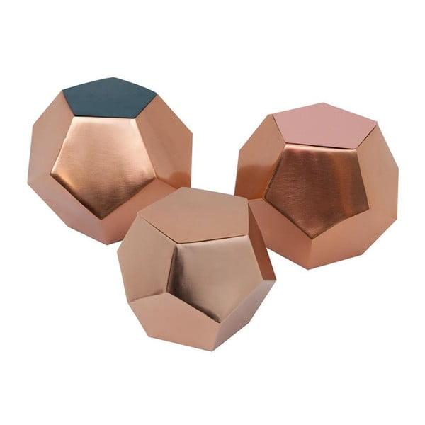 Sada 3 krabiček Diamond Petrol/Rose/Copper