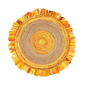 Kruhový koberec zjuty abavlny Eco Rugs Gold, Ø120cm