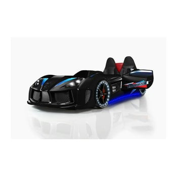 Pat în formă de automobil cu lumini LED pentru copii Racero, 90 x 190 cm, negru de la Musvenus