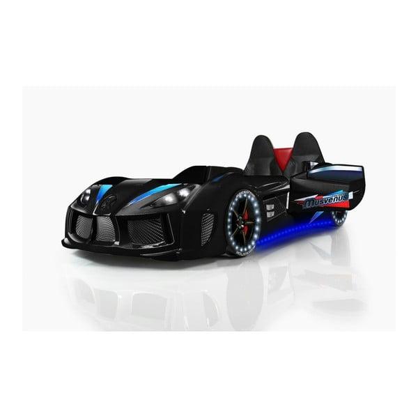 Pat în formă de automobil cu lumini LED pentru copii Racero, 90 x 190 cm, negru