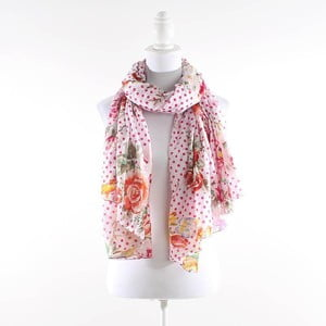 Šátek s květy a puntíky, růžový