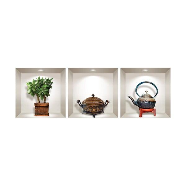 Sada 3 3D samolepek na zeď Ambiance Japanese Plant