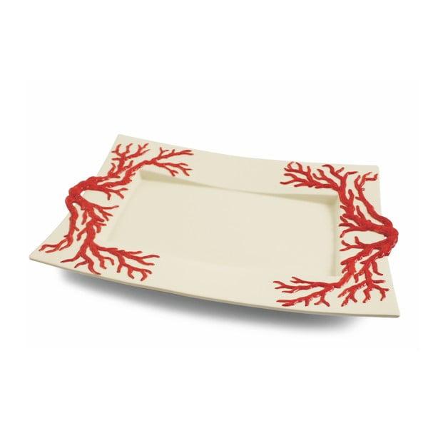Hranatý talíř Corallo Rosso, 45x30 cm