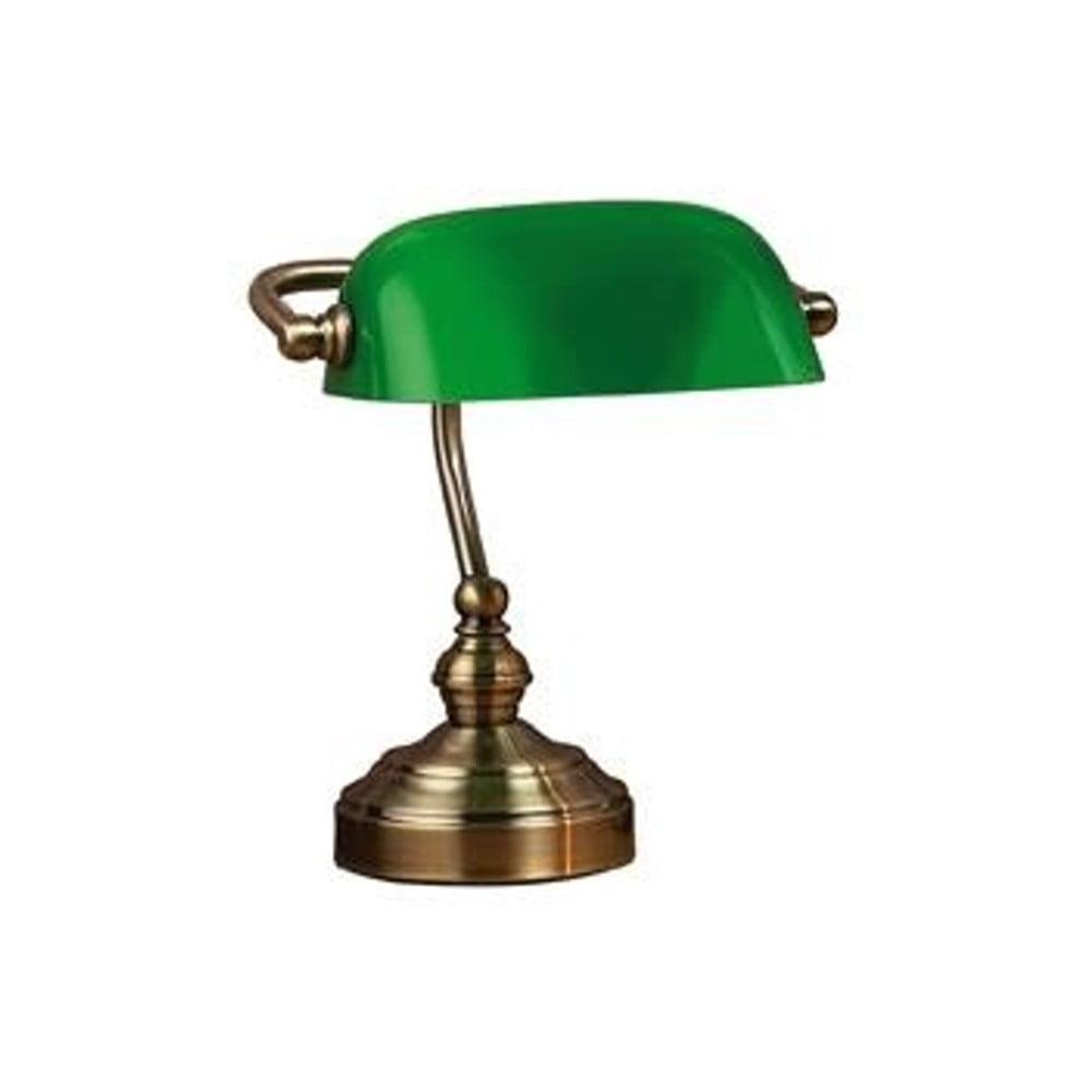 Stolní lampa v zelené a mosazné barvě Markslöjd Bankers, 25 cm