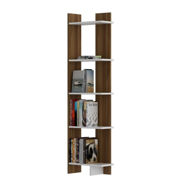 Knihovna v dekoru ořechového dřeva s bílými detaily Als Walnut White