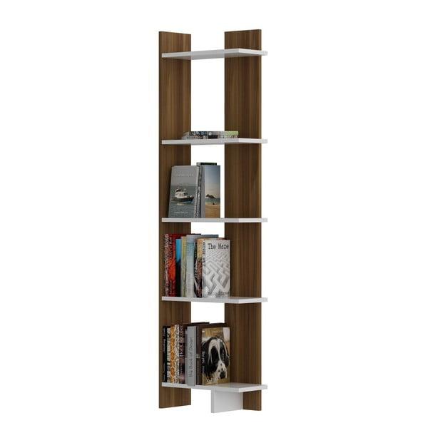 Knižnica v dekore orechového dreva s bielymi detailmi Als Walnut White
