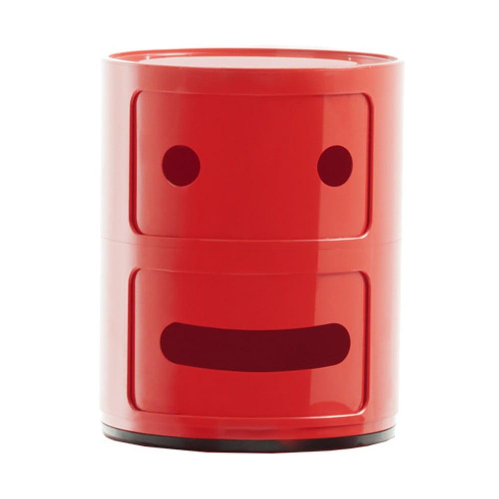 Červený kontejner se 2 zásuvkami Kartell Componibili Grin