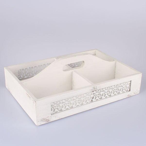 Bílá dřevěná přepravka Dakls Parma