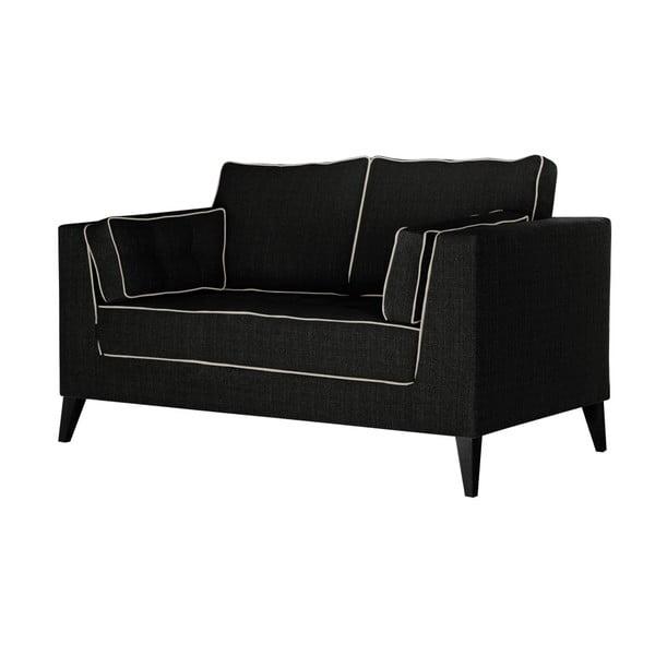 Černá dvoumístná pohovka s detaily v krémové barvě Stella Cadente Maison Atalaia Black