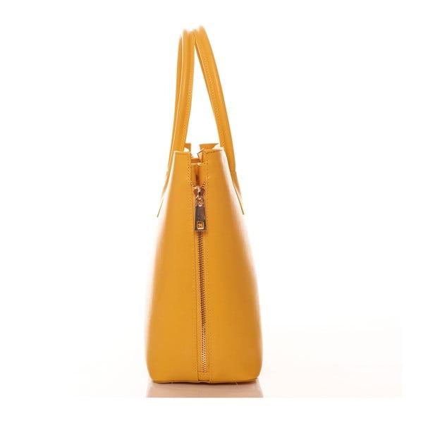 Žlutá kožená kabelka Federica Bassi Saffiano
