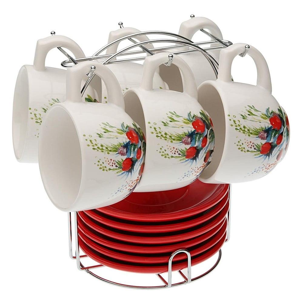 Set 6 čajových šálků s podšálky se stojánkem VERSA Flower