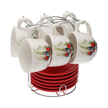 Set 6 cești pentru ceai cu farfurie și suport VERSA Flower de la Versa