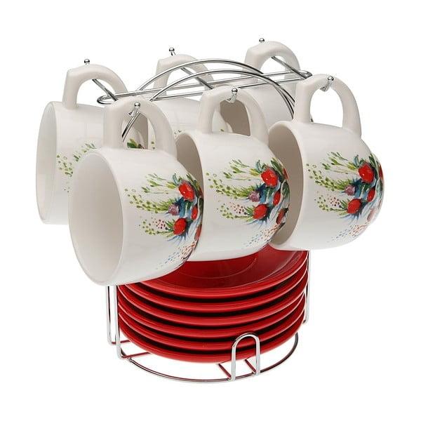 Set 6 čajových šálků s podšálky se stojánkem Versa Flower, 210ml