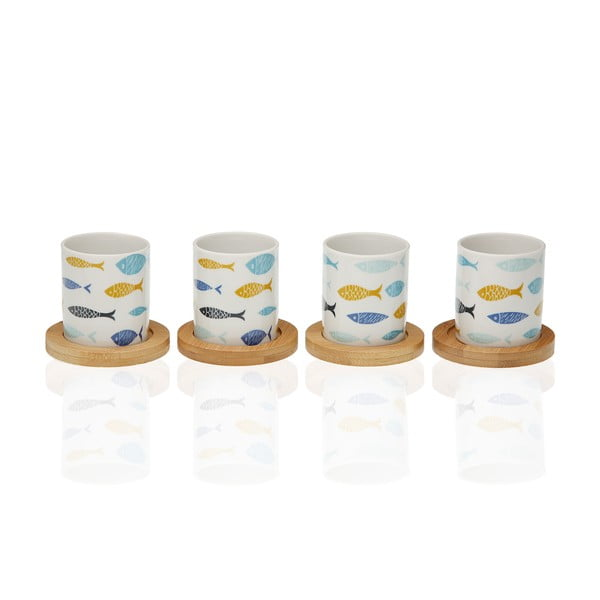Sada 4 porcelánových šálků s bambusovými podšálky Versa Blue Bay