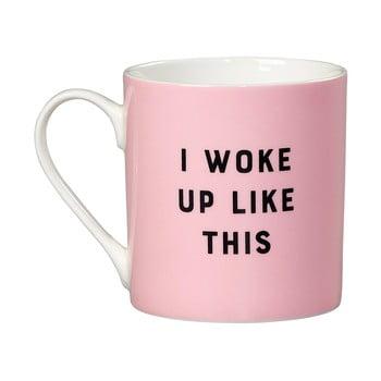Cană din porțelan Yes studio I Woke Up Like This, 380 ml, roz de la Yes studio