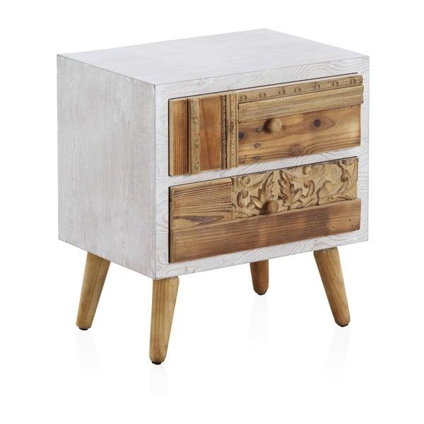 Noptieră cu detalii albe și 2 sertare Geese Rustico Puro, 48,5 x 52 cm