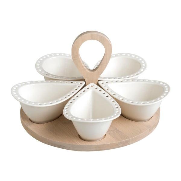 Sada 5 servírovacích misek z porcelánu na bambusovém podnosu Brandani Drops