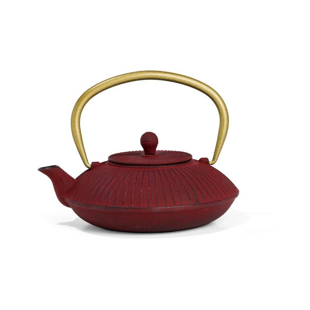 Červená litinová konvice se sítkem na sypaný čaj Bredemeijer Linhai, 1,1 l