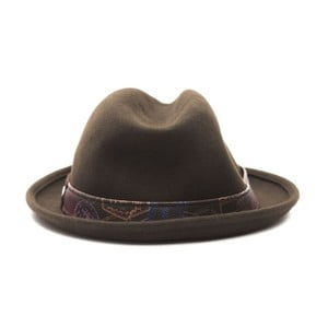 Tmavě hnědý kožený pánský klobouk Alviero Martini Sarudo