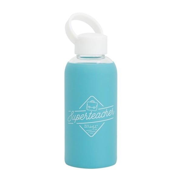Modrá skleněná cestovní lahev Mr. Wonderful Superteachers, 450 ml