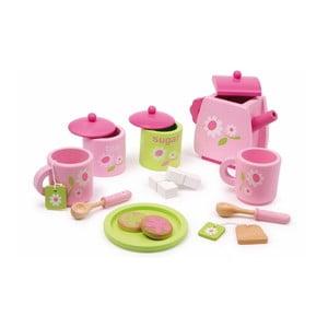 Dřevěný čajový servis na hraní Legler Pink