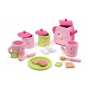 Set jucării din lemn pentru servit ceai Legler Pink de la Legler