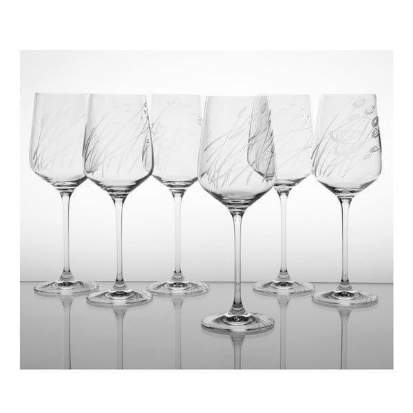 Ateliér Žampach, set 6 ks skleniček na červené víno Traviny nahoru