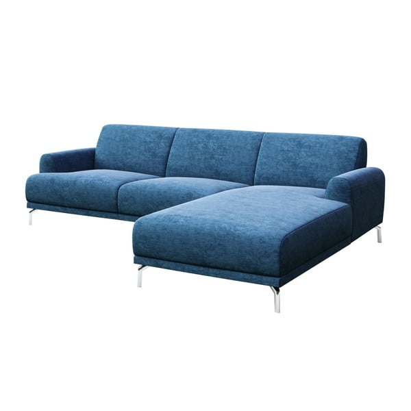 Modrá rohová pohovka s kovovými nohami MESONICA Puzo, pravý roh