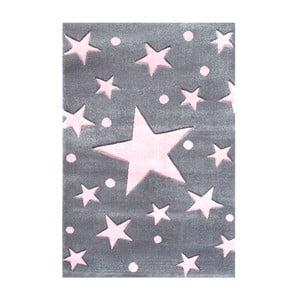 Šedorůžový dětský koberec Happy Rugs Star Constellation, 80x150cm