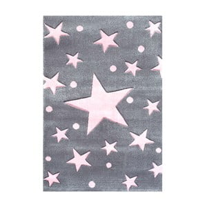 Covor pentru copii Happy Rugs Star Constellation, 80x150 cm, gri - roz