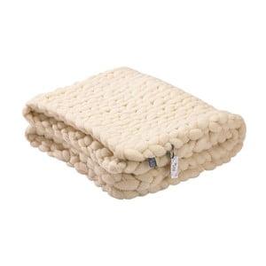 Pled tricotat manual din lână merino WeLoveBeds, 180 x 140 cm, bej