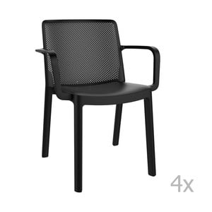 Sada 4 černých zahradních židlí s područkami Resol Fresh